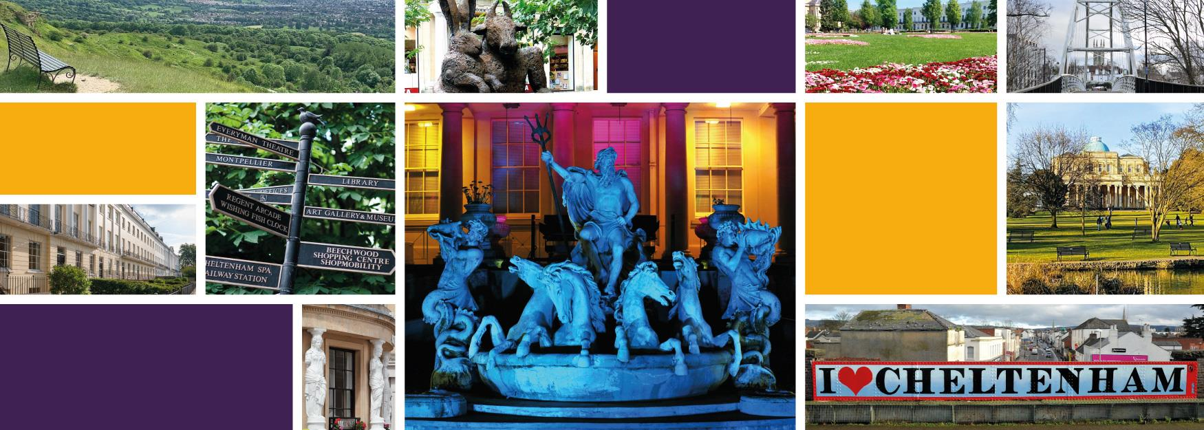 Collage of photographs and colours showing a range of things to see, do and explore in and around Cheltenham