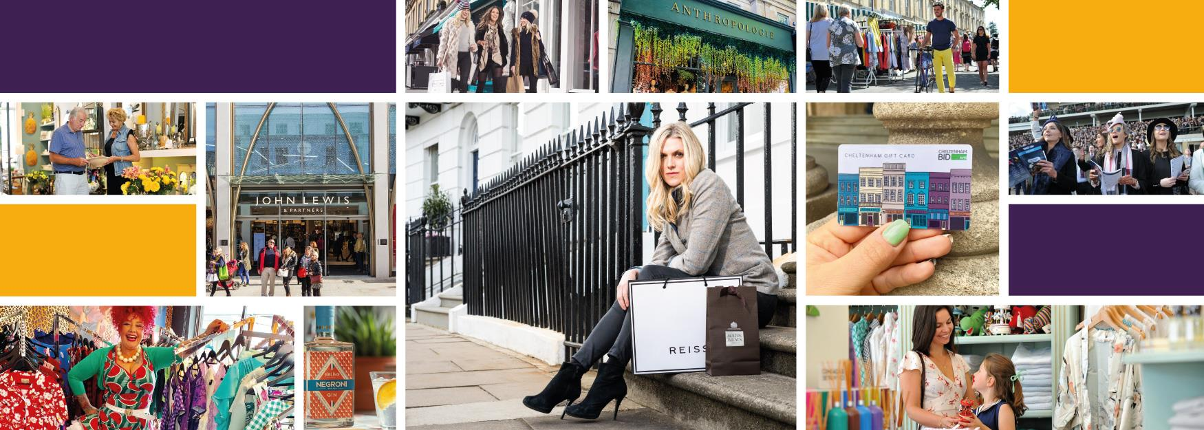 Collage of images of independent and national retailers