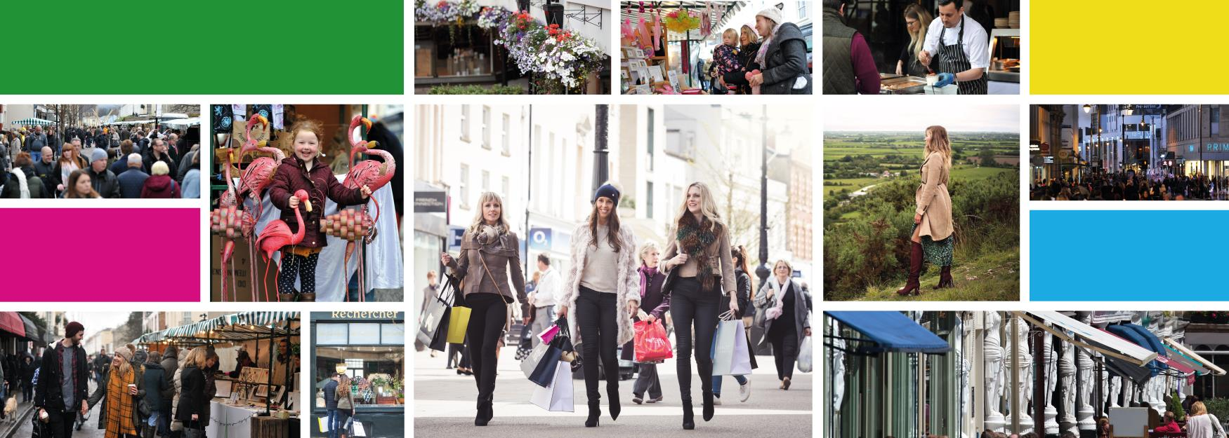 Collage of photographs and colours showing Cheltenham's superb shopping offer