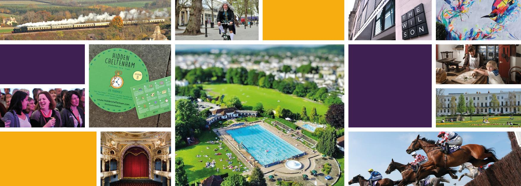Collage of local attractions including Sandford Lido, Everyman Theatre and Great Western Steam Railway