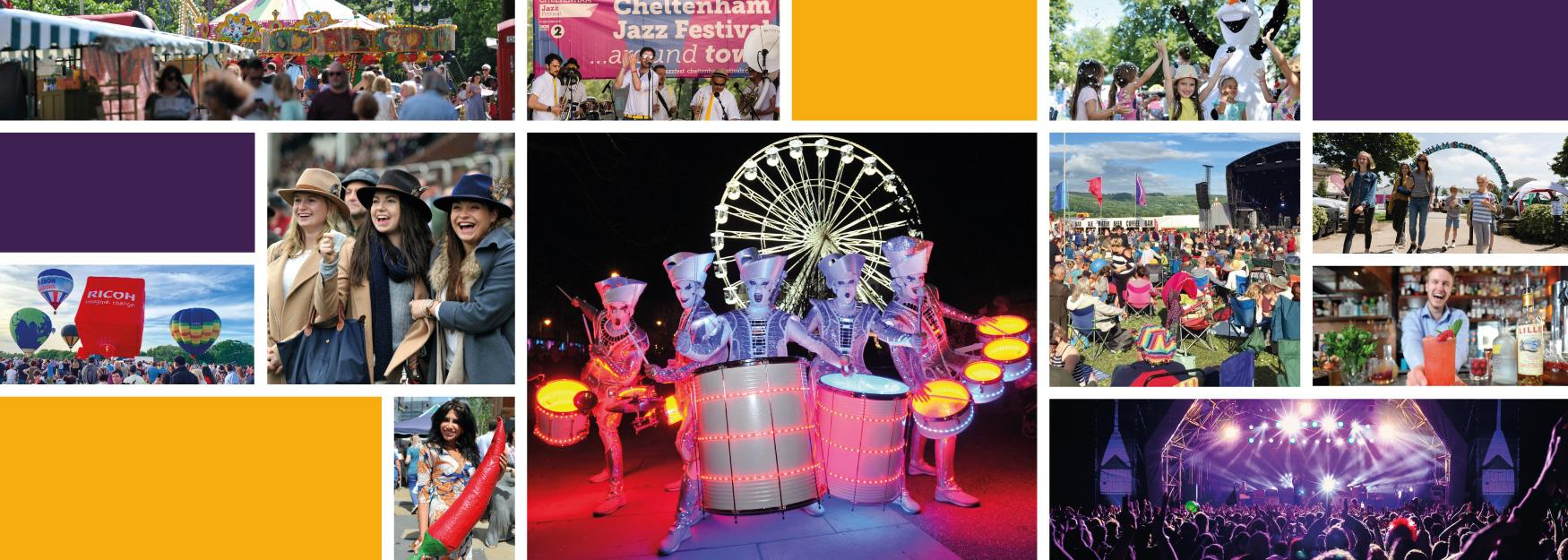 Collage of Cheltenham festivals and events