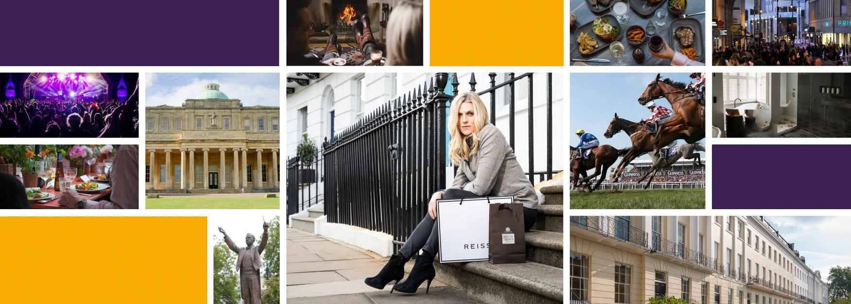 Collage of images of Cheltenham including eating out, shopping and regency architecture.