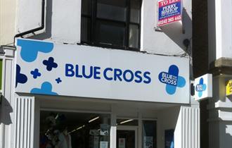 Exterior of Blue Cross shop