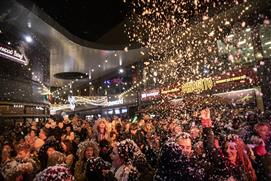 Snow at The Brewery Quarter's lights switch on