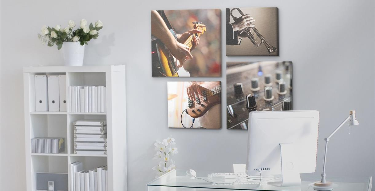 Selection of hung canvas prints