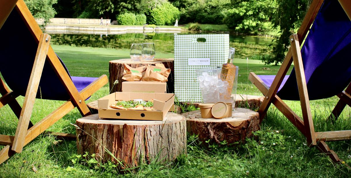 Bell tent picnic at Cowley Manor