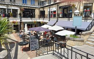 Exterior shot of Gallimores Kitchen, Montpellier Courtyard, Cheltenham.
