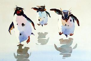 Painting of 3 penguins