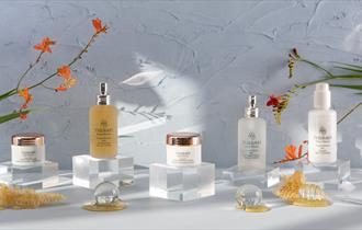 A photograph of various products including facial toner and radiance cream