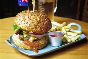 Feathered Fish burger and chips