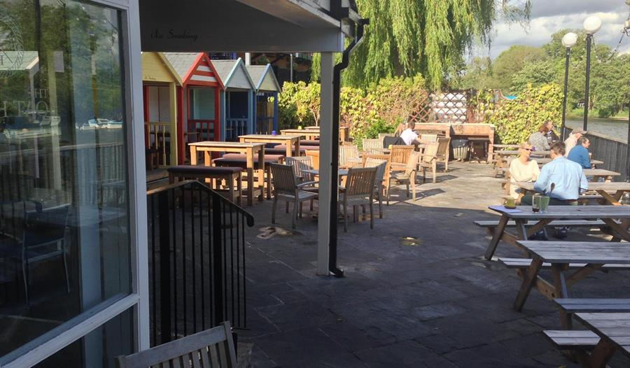 The exterior of The Boathouse in Chester offers new floating beer garden and serves JW Lees Beer