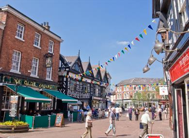 The vibrant town centre of Nantwich