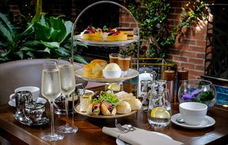 Afternoon tea with champagne