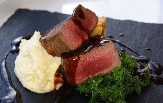 Eloquently presented steak.