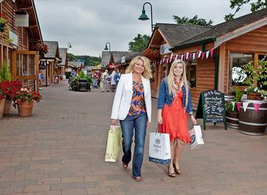 Walking through the shopping village