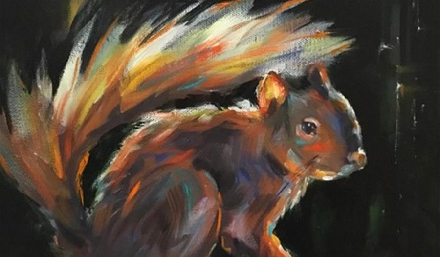 painting of a squirrel by Julie Cross