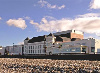 View of Venue Cymru from the Beach