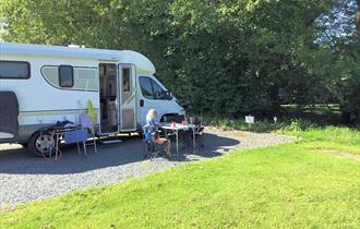Guests enjoying Astbury Motorhome Stopover Site
