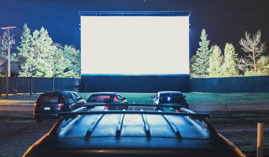 Cars at a drive in theatre