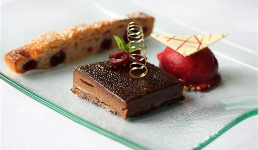 Delicious cakes at Crystal Restaurant at Nunsmere Hall