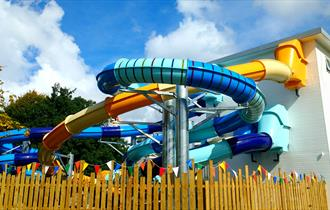 Slides at Splash Zone at Gulliver's World Resort