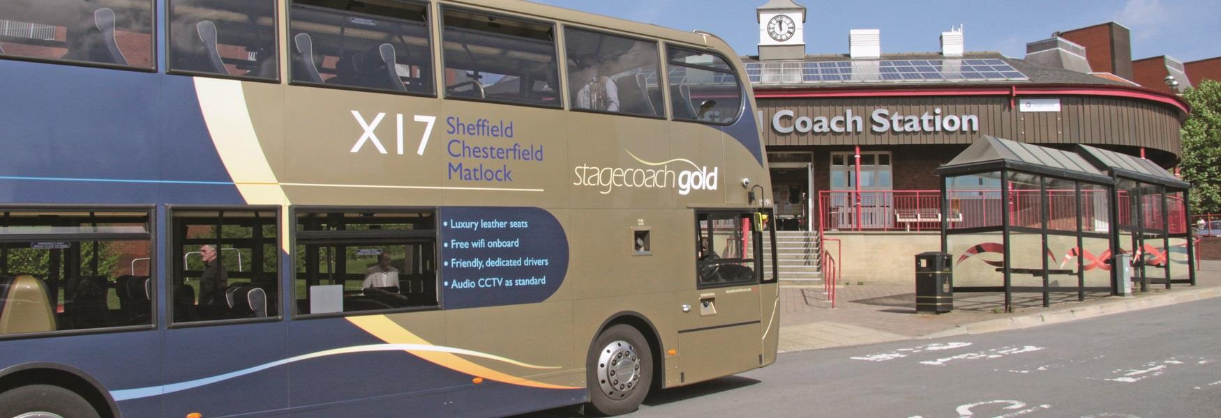 Bus arriving at Chesterfield coach station