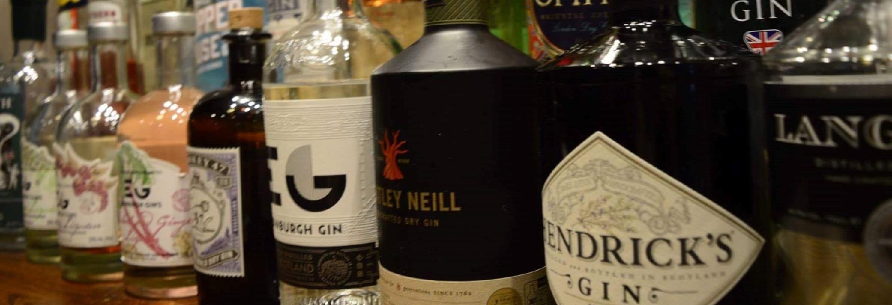 Selection of gins available in a pub