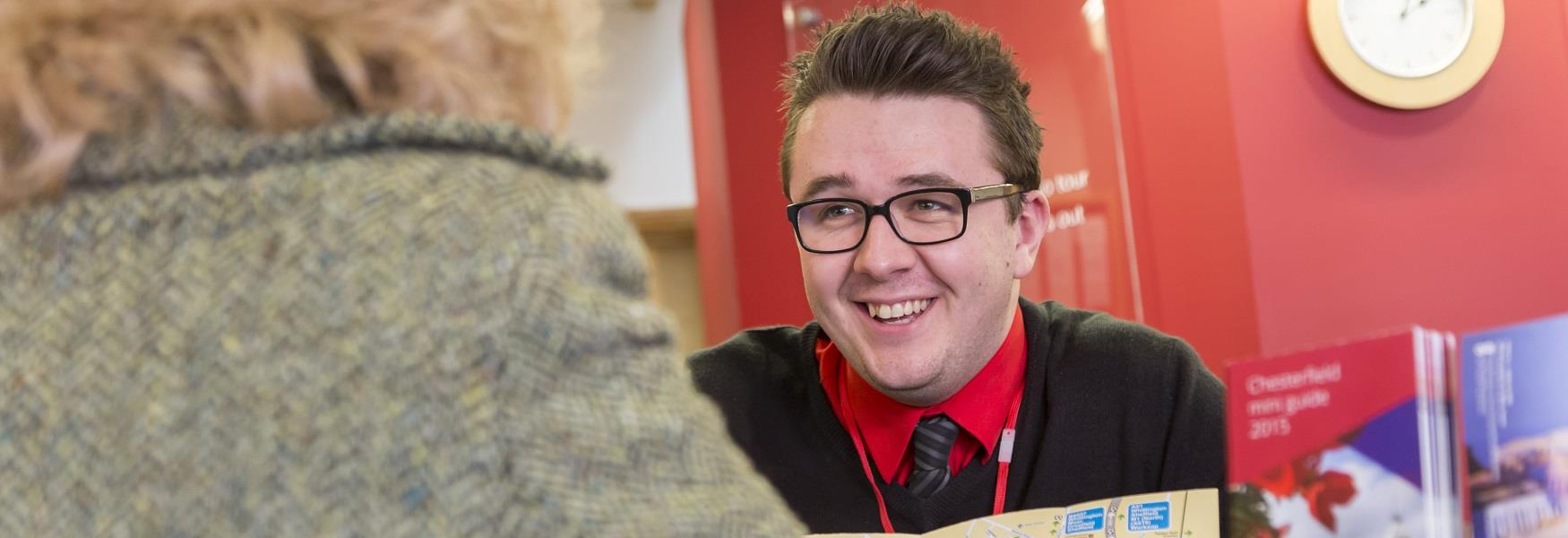Customer being served at Chesterfield Visitor Information Centre