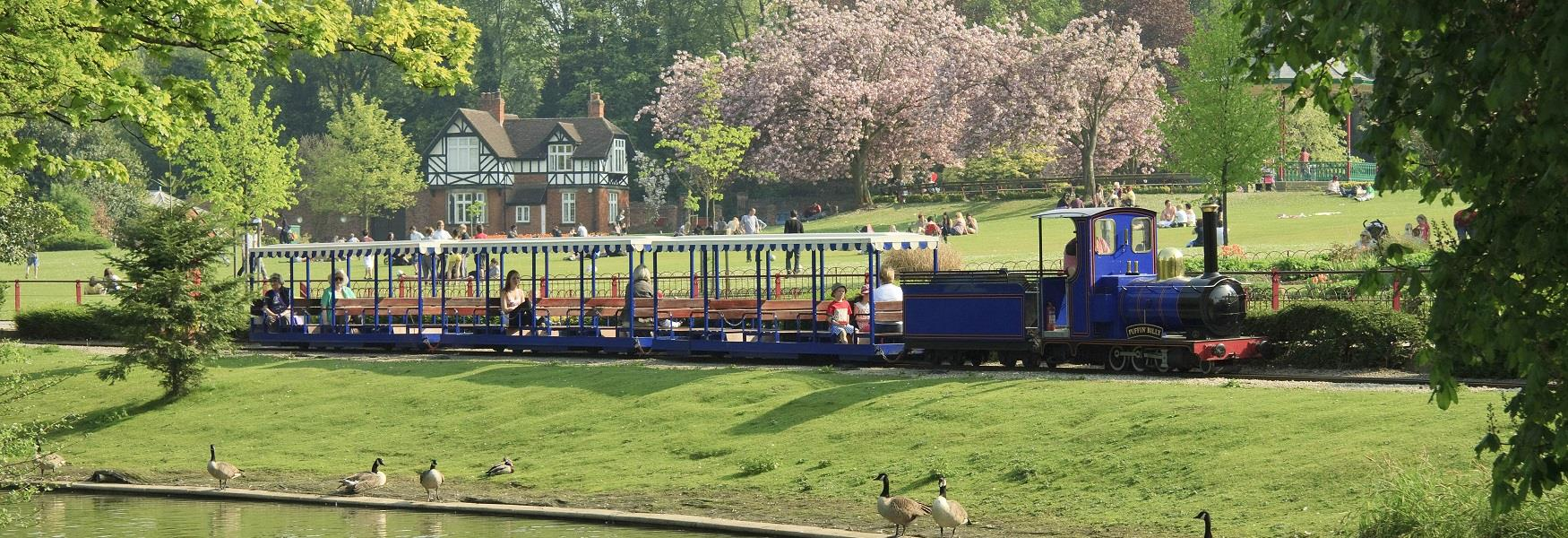 Queen's Park, Chesterfield with train
