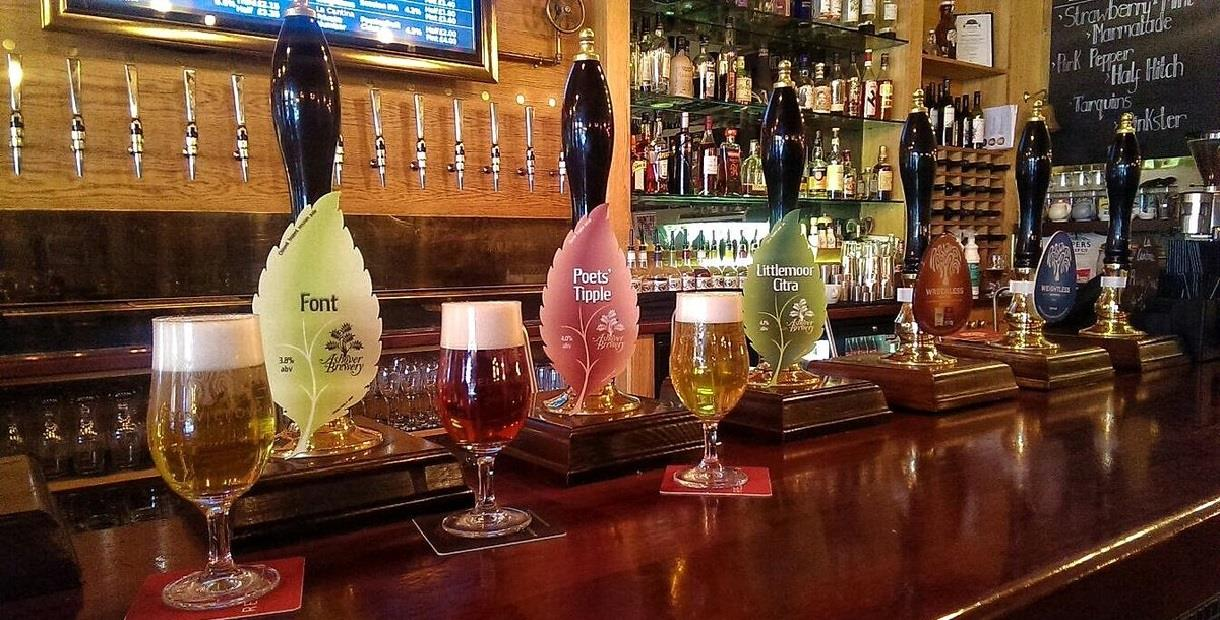 Ashover Brewery beers on display at a bar