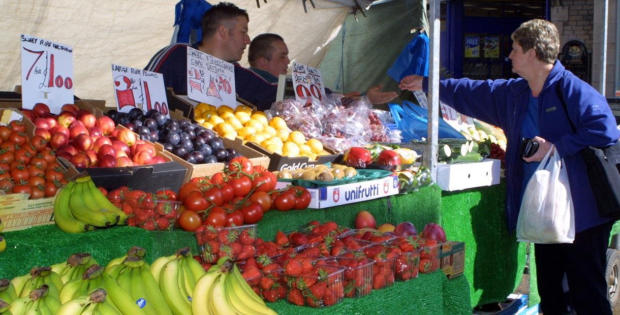 Fruit and veg stall at Bolsover Market