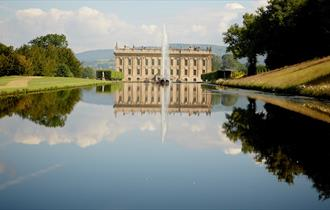 View of Chatsworth from across the Canal Pond