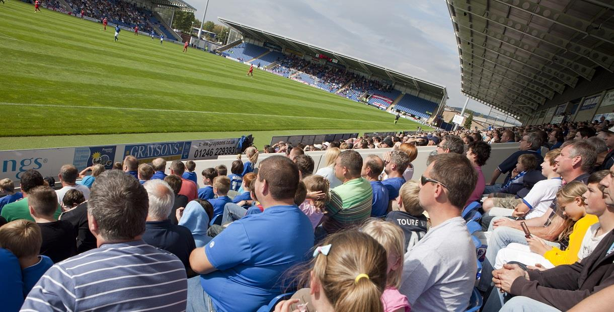 Crowds watching Chesterfield Football match