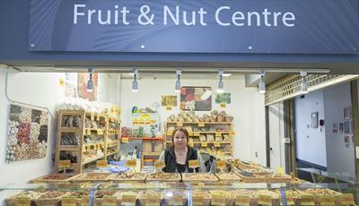 Fruit and Nut Stall inside Chesterfield Market Hall