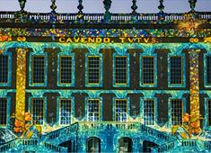Projections on the house at Chatsworth