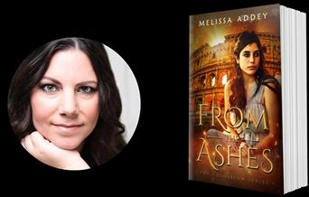 Author Melissa Addey, pictures with their book, From the Ashes