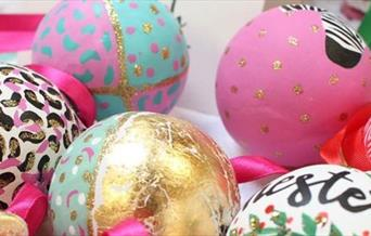 Brightly coloured christmas baubles