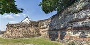 Colchester's Roman Wall curves around the Balkerne Gate