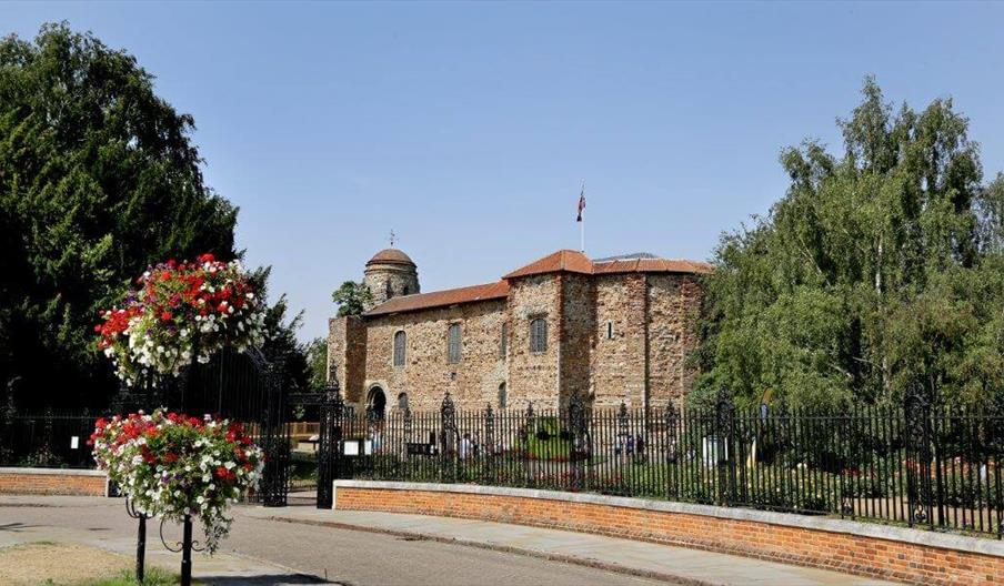 A view of Colchester Castle through the Cowdray Crescent gates