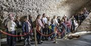 A group in the vaults of Colchester Castle