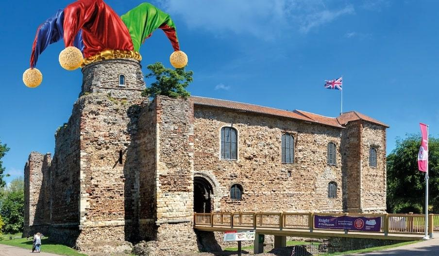 Colchester Castle with a Jester's hat photoshopped on to a turret.
