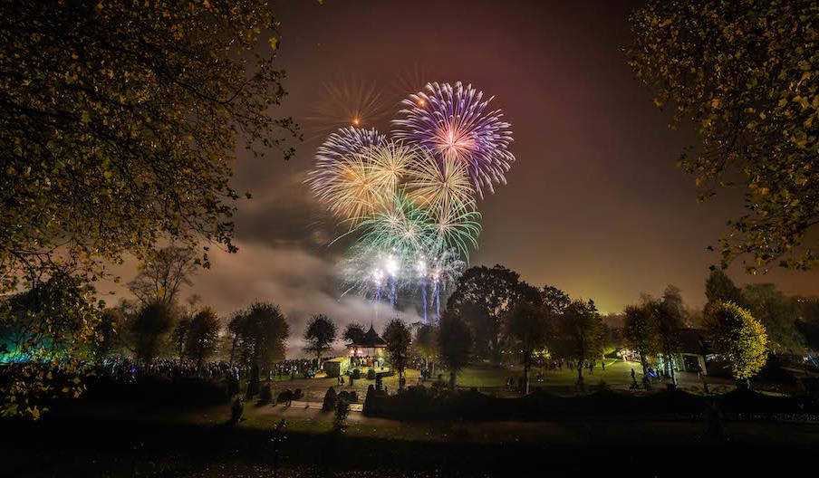 Fireworks Exploding over the Bandstand in Castle Park