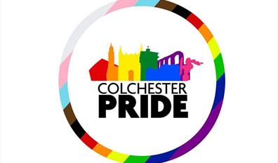 The Colchester Pride Logo - a rainbow silhouette of the town's iconic landmarks