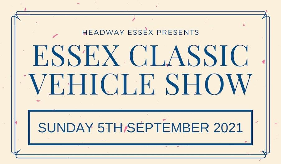 Headway Essex Presents 'Essex Classic Vehicle Show' in blue text on a pale pink background