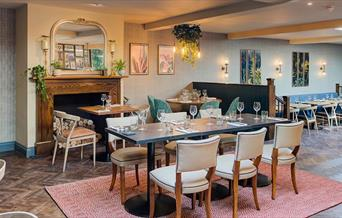 Interior of The George Hotel Restaurant, table and chairs