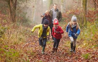 Family walking at High Woods Country Park