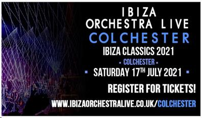Photographs of a darkened stage with a seated orchestra lit by lasers, text reads ' Ibiza Orchestra Live, Colchester, Ibiza Classics 2021, Colchester,