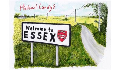Michael Landy's Welcome to Essex sign on country road. Ink on paper drawing