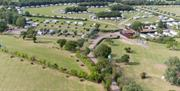 Arial view of a camping and caravan site