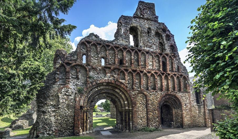 An impressive front view of St Botolph's Priory